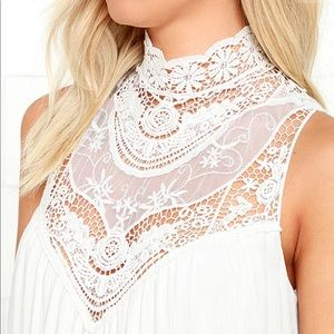 LULUS Asana White Lace Swing Dress Small